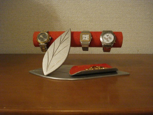 腕時計スタンド レッドダブルリーフ小物入れ付き腕時計スタンド(男性用) RAK1294
