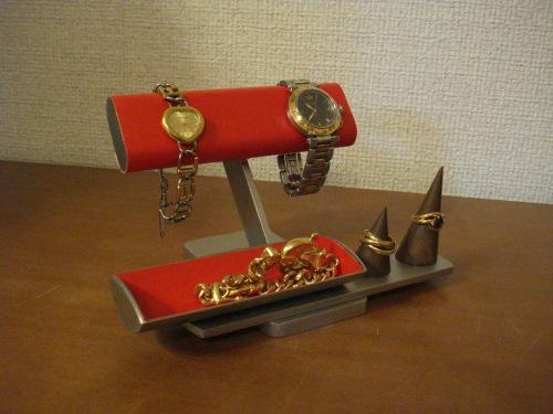リングスタンド固定、トレイ端蓋あり レッド腕時計、リング、小物入れ付きアクセサリースタンド 腕時計スタンド RAK284