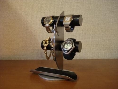 ウォッチスタンド ブラック4本掛け飛び出す バージョンロングトレイ三日月腕時計スタンド RAK987