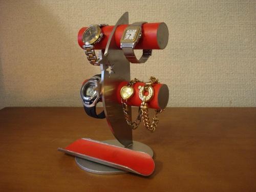 腕時計 レッド4本掛け飛び出すバージョンロングトレイ三日月腕時計スタンド RAK387
