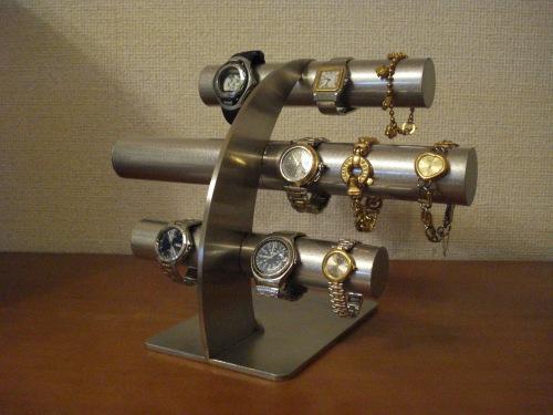 腕時計スタンド 上段、中段は男性用、最下段は女性用14本掛け反り返るデザインステンレス腕時計スタンド RAK4977