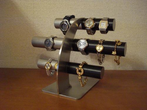 腕時計スタンドで、お気に入りの腕時計を飾ってみませんか?AKデザインの時計スタンド。オーダーメイドも承ります。ハンドメイドで丁寧に作っています。 クリスマスプレゼント 時計 スタンド ウォッチスタンド クリスマス ハロウイン 腕時計ラック 腕時計収納 腕時計飾る 腕時計を飾る アクセサリースタンド上段、中段は男性用、最下段は女性用14本掛け反り返るデザイン左ステンレス&ブラック腕時計スタンド RAK3398
