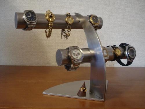 時計 ステンレス6本掛け腕時計スタンド 木製リングスタンド(固定していない)付き RAK4988