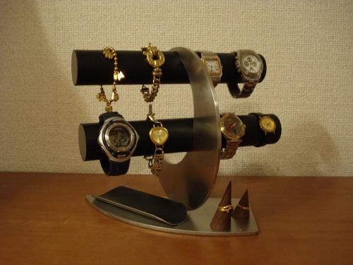 時計スタンド ブラック三日月腕時計スタンド 木製指輪スタンド 小物入れ付き RAK44412
