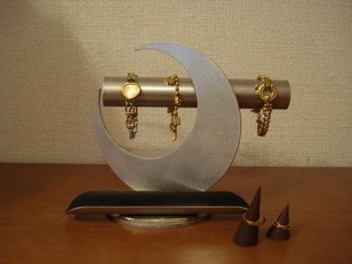 腕時計スタンド 透明シート貼りパイプブラックトレイブレススタンド★木製リングスタンド、ロングトレイ未固定バージョン RAK6620