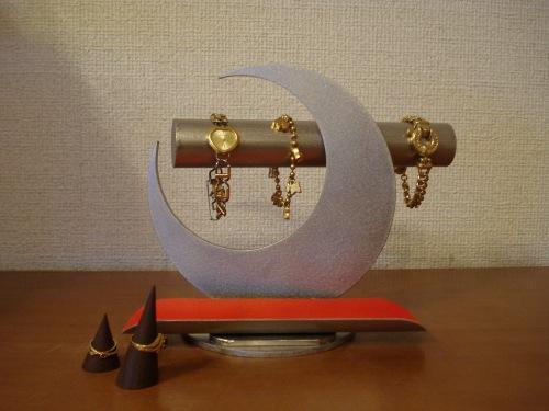 誕生日プレゼントに アクセサリースタンド 透明シート貼りパイプ、レッドトレイブレススタンド★木製リングスタンド、ロングトレイ未固定バージョン RAK9932