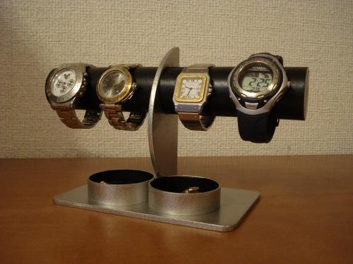 腕時計スタンド ブラックダブル丸トレイハーフムーン4本掛け腕時計スタンド RAK729