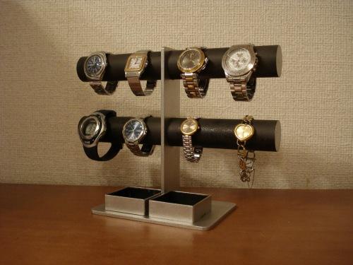 プレゼントに 腕時計スタンド ブラック8本掛けダブル角トレイウォッチ収納スタンド RAK286