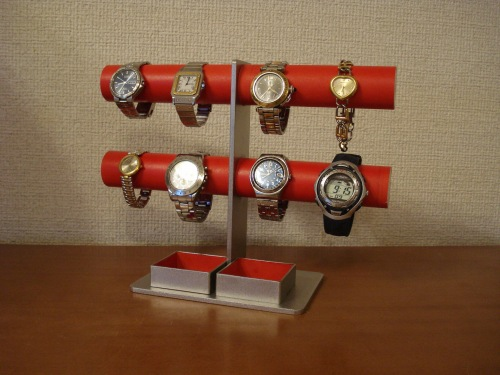 腕時計スタンド レッド8本掛けダブル角トレイウォッチ収納スタンド RAK354