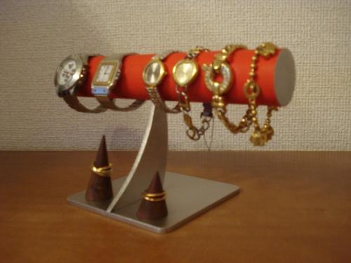 腕時計 スタンド レッド4本掛けシンプル腕時計スタンド 未固定指輪スタンド付き RAK928