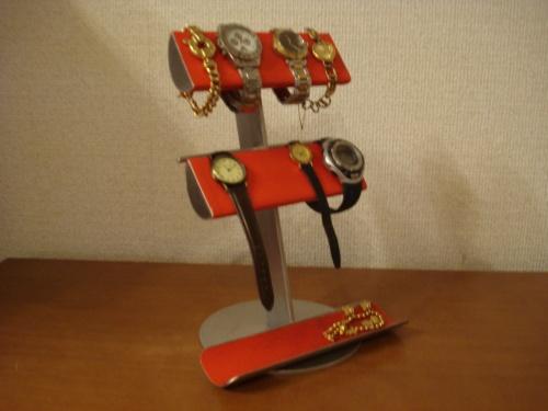 腕時計スタンド レッド革バンド&メタルバンド4本掛けトレイ付き腕時計スタンド RAK418