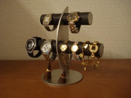 時計スタンド ブラック三日月6本掛け腕時計スタンド木製指輪スタンド RAK3992