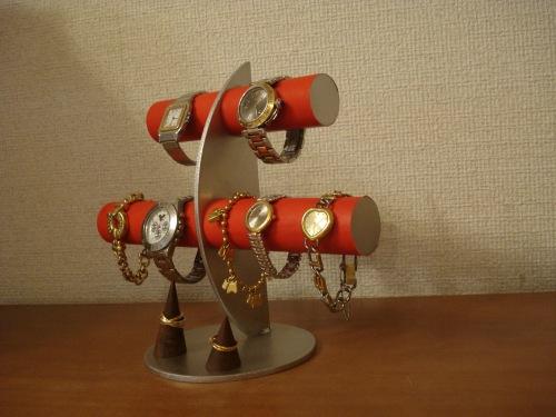 プレゼントに 腕時計スタンド レッド三日月6本掛け腕時計スタンドカップル指輪スタンド RAK6112