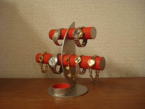 誕生日プレゼントに 腕時計スタンド レッド三日月6本掛け腕時計スタンド 丸いトレイバージョン RAK5100