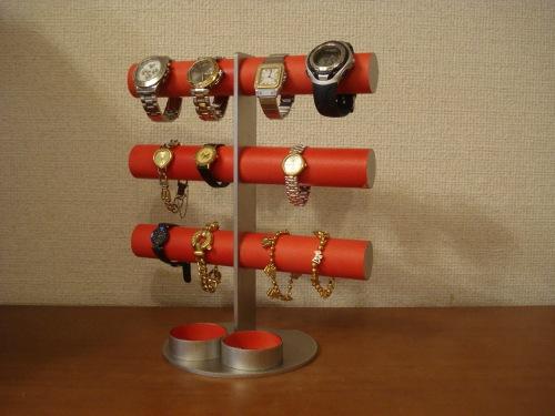 腕時計 スタンド レッド12本掛けダブル丸トレイ腕時計スタンド RAK5100