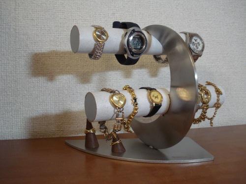 腕時計スタンド ホワイト三日月8本掛け未固定指輪スタンド付き腕時計スタンド RAK5022