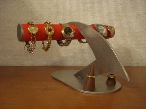 時計 ケース レッドデザインインテリア4本掛け腕時計ディスプレイスタンド 指輪スタンド付き RAK4008