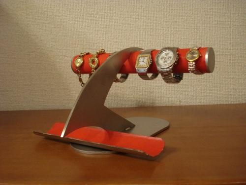 時計スタンド レッドデザインインテリア4本掛け腕時計ディスプレイスタンド ロングトレイ付き RAK810