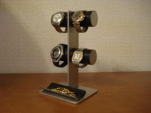 腕時計スタンド ブラック丸パイプ4本掛けトレイ付き腕時計スタンド RAK0122
