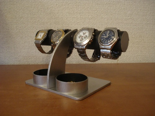 時計スタンド 腕時計 スタンド 誕生日プレゼント ノベルティ ウォッチスタンド ケース 時計置き 時計ケース ディスプレイスタンド ハンドメイド オーダーメイド 記念品 ギフト 贈り物 時計 飾る 腕時計 収納 アクセサリー丸ダブルトレイ腕時計スタンド ブラック