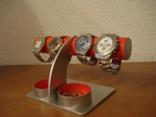 プレゼントに 腕時計スタンド レッドアクセサリー丸ダブルトレイ腕時計スタンド RAK6109
