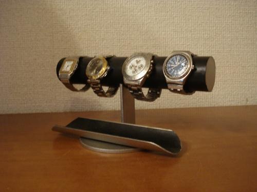 腕時計 スタンド ブラック4本掛け腕時計スタンド ロングトレイ付き