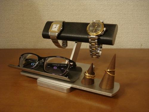 父の日 ブラック2本掛け腕時計、ダブルリング、メガネスタンド RAK8399
