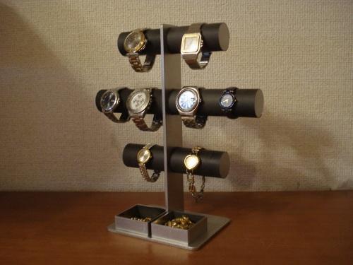 時計スタンド ブラック3段8本掛け腕時計スタンド★ダブル角トレイ