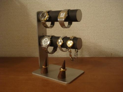 腕時計スタンド ブラック4本掛け腕時計スタンド ダブル指輪スタンド
