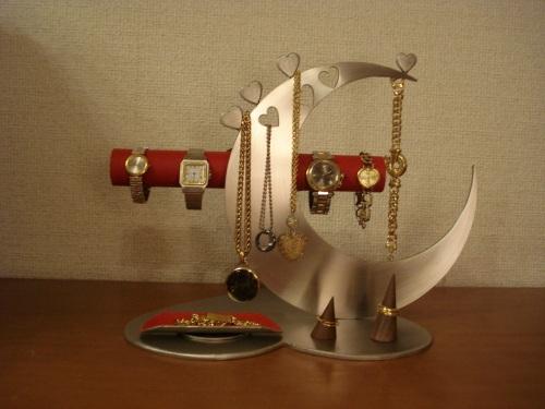 誕生日プレゼントに アクセサリーケース レッド指輪、ネックレス、腕時計三日月スタンド パート2 RAK6299