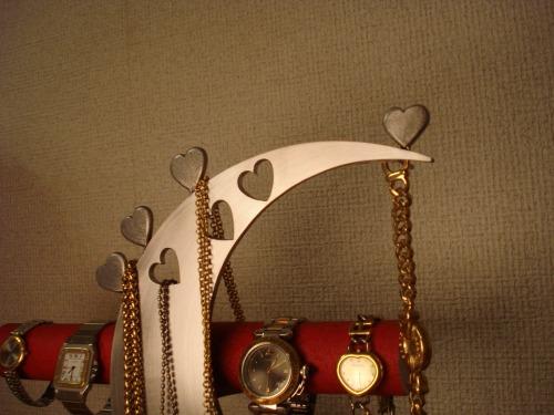 アクセサリースタンド レッド指輪、ネックレス、腕時計三日月スタンド パート2 RAK6299kiuOPXZ