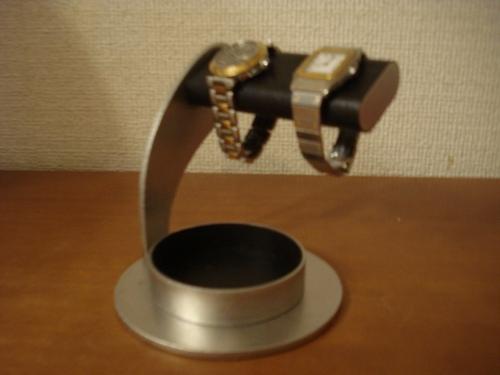 腕時計スタンド だ円パイプブラック丸台座超でかい丸トレイ腕時計スタンド