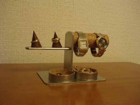 ウオッチスタンド ダブル腕時計、ダブルリングスタンド 丸トレイバージョ