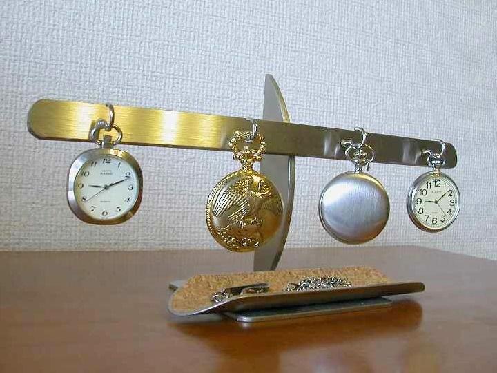 プレゼントに 角トレイ4本掛け懐中時計スタンド ロングトレイ