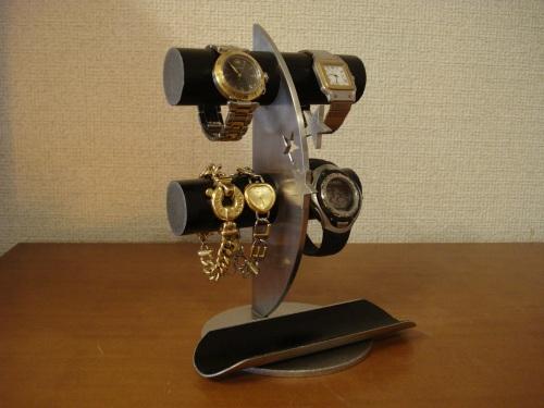 ウオッチスタンド ブラック4本掛け飛び出すバージョンロングトレイ三日月腕時計スタンド