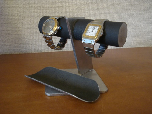 腕時計スタンド 2本掛けブラックトレイ付きななめ支柱腕時計スタンド