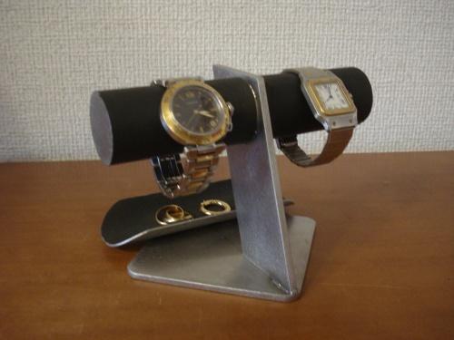時計 2本掛けブラックトレイ付きななめ支柱腕時計スタンド バックトレイバージョン