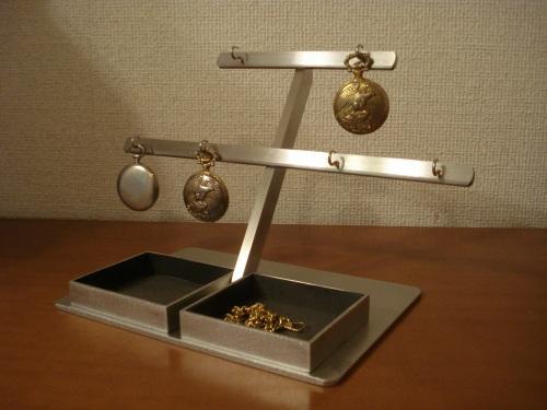 懐中時計スタンド 6本掛けダブルでかいトレイ懐中時計スタンド ブラックトレイ