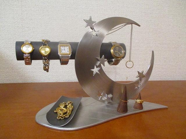 父の日に 腕時計スタンド 丸パイプ台座リーフ三日月腕時計、ネックレス、リングスタンドトレイ ブラックバージョン