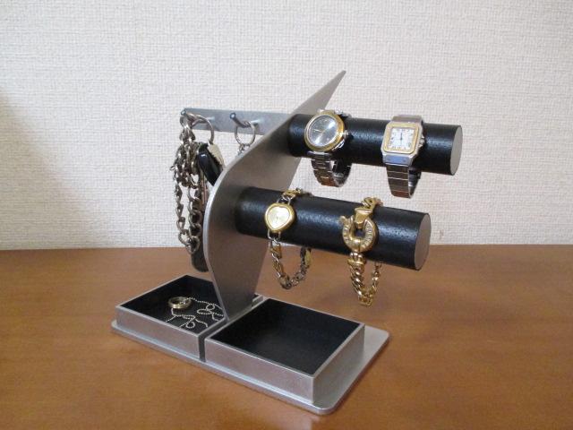 腕時計 スタンド 時計 スタンド 腕時計スタンド ウォッチスタンド ケース 時計置き 時計ケース 腕時計収納 腕時計飾る 時計を飾る 腕時計を飾る 腕時計スタンド キースタンド 丸パイプ腕時計4本掛けダブルでかいトレイ付き ブラックコルクバージョン
