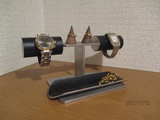 誕生日プレゼントに 腕時計スタンド 新作 腕時計、ダブルリング、小物入れスタンド ブラック