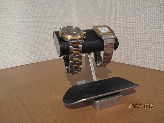 プレゼントに!腕時計スタンド 新作 チビ助腕時計スタンドブラック だ円バージョン