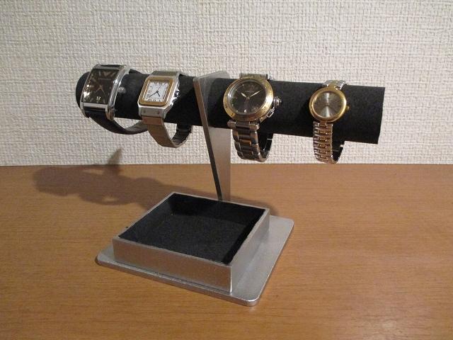 腕時計 飾る 4本掛けデカイトレイ付き腕時計スタンド ブラック 181122