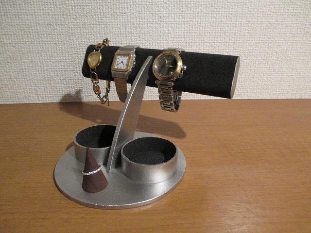 腕時計 飾る ブラック楕円4本掛けダブル丸トレイ腕時計スタンド シングルリングスタンド