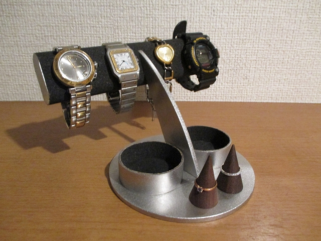 腕時計 飾る ブラック楕円4本掛けダブル丸トレイ腕時計スタンド ダブルリングスタンド