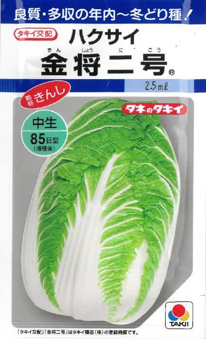 良質 多収の年内~冬どり種 白菜 はくさい ハクサイ 種子 新作通販 たね 秋播き種子 新作入荷!! タネ 種 金将二号種子 タキイ 2.5ml入り 家庭菜園