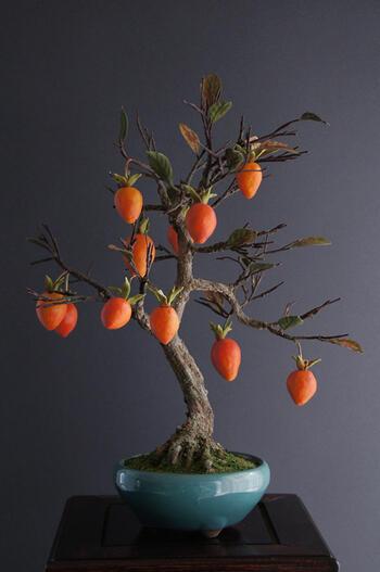盆栽 老爺柿(造花)