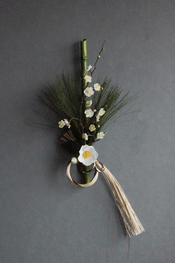 白梅×白椿 お正月飾り(造花)