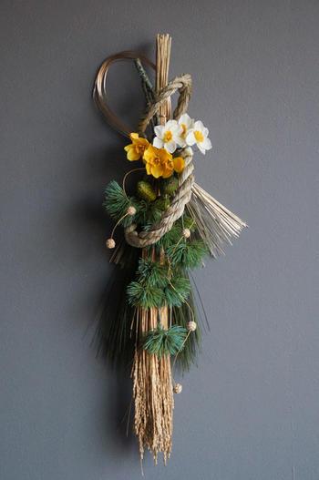 ゴールデン稲穂×日本水仙 お正月飾り(造花)