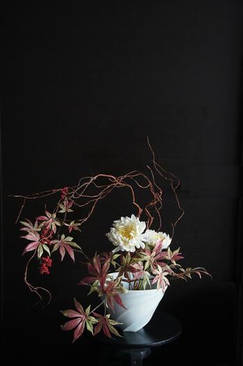 菊 × 紅葉 × 陶芸作家 樋口邦春作 青白磁花入(造花)